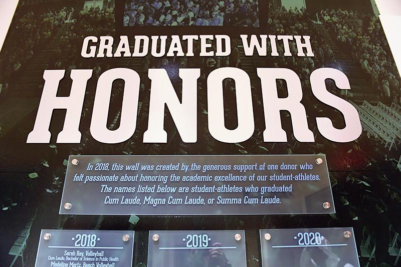 Center for Sport at Tulane - Student Athlete Graduated with Honors wall